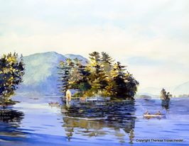 Rowing-Past-Recluse-Island-Lake-George-Sold