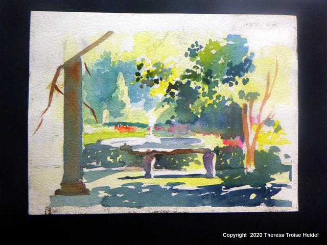 "plein air sketch in watercolor, garden bench, unmatted, 9"" H x 12"" W"