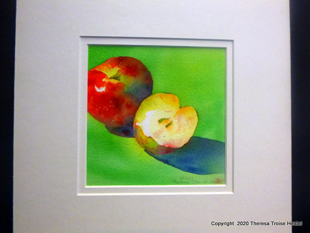 "Honeycrisp Apples, painted from life, with mat, 12"" x 12"""