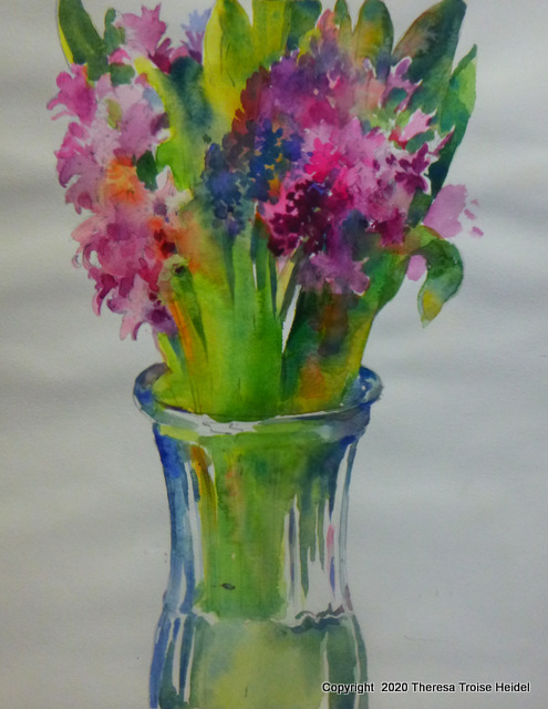 Hyacinths, painted from life 14 H x 11W