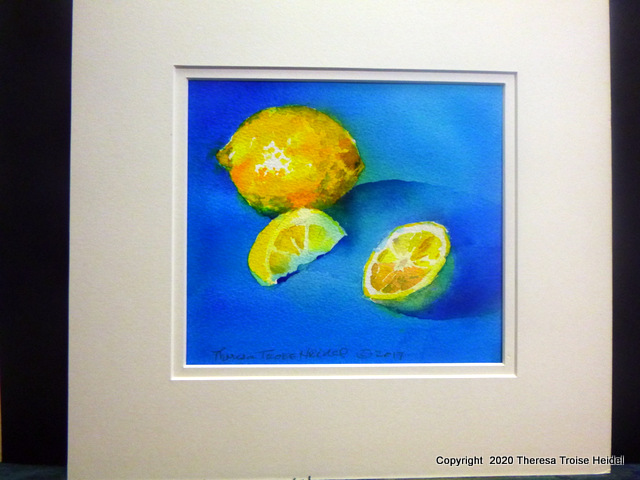 "Lemons, painted from life, with mat, 11"" H x 12"" W"