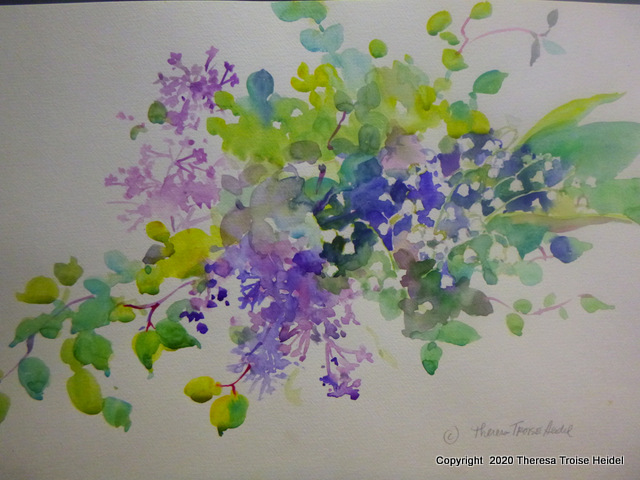 """LIlacs and LIly of the Valley, painted from life, unmatted,11 and 3/4"""" H x 16""""W"""