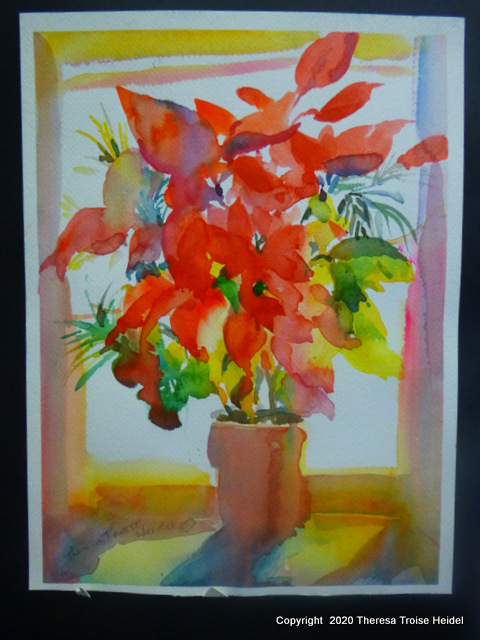 Poinsettia in the Window Light, painted from life 13H x 10W