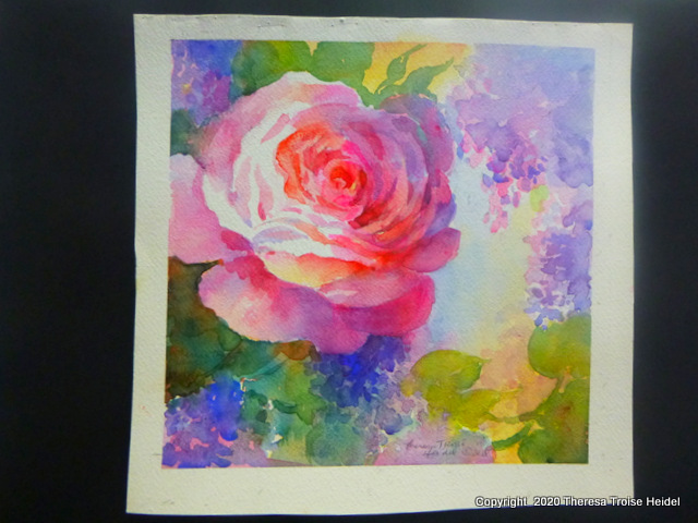 "Rose and Lilacs, unmatted, 10"" x 10"""
