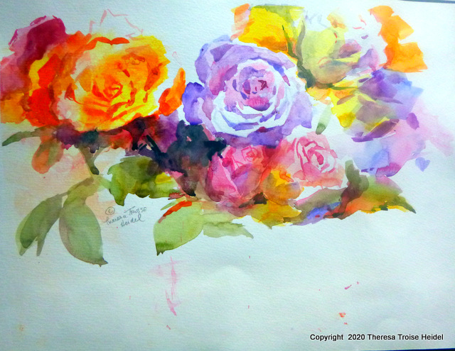 "Rose Study, from life, unmatted, 11 and 1/2""H x 14 and 1/4""W"