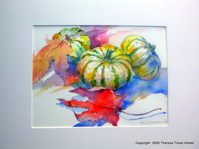 Tiger Pumpkins with Leaves, painted from life 15.50H x 18.50, with mat